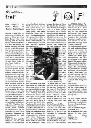 Scan des Artikels über die Radiosendung aus der KAZ April 2007