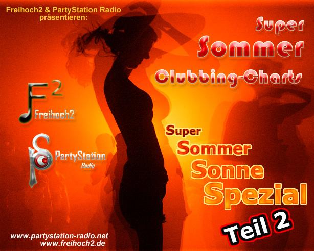 Cover der »Super Sommer Clubbing Charts«, präsentiert von PartyStation Radio und frei²